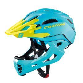 Casco Cratoni C-Maniac (Freeride) mentontera desmontable azul/lima mate
