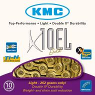 Cadena KMC X-10 EL Ti dorada 114 eslabones 239gr
